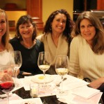 club members georgette, kathy, friend bari, and club member stacy at wine tasting